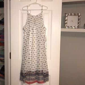 White w/ multicolor prints dress
